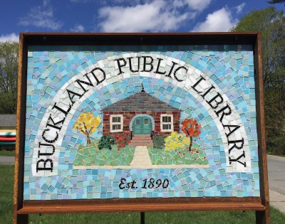 Buckland Public Library Mosaic Sign Close Up