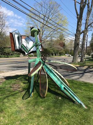 Metal sculpture, Dragonfly reading Lord of the Flies, Acton Library, Old Saybrook, CT (back)