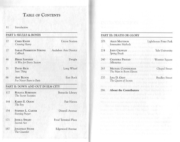 New Haven Noir table of contents, Akashic Books (WildmooBooks.com)