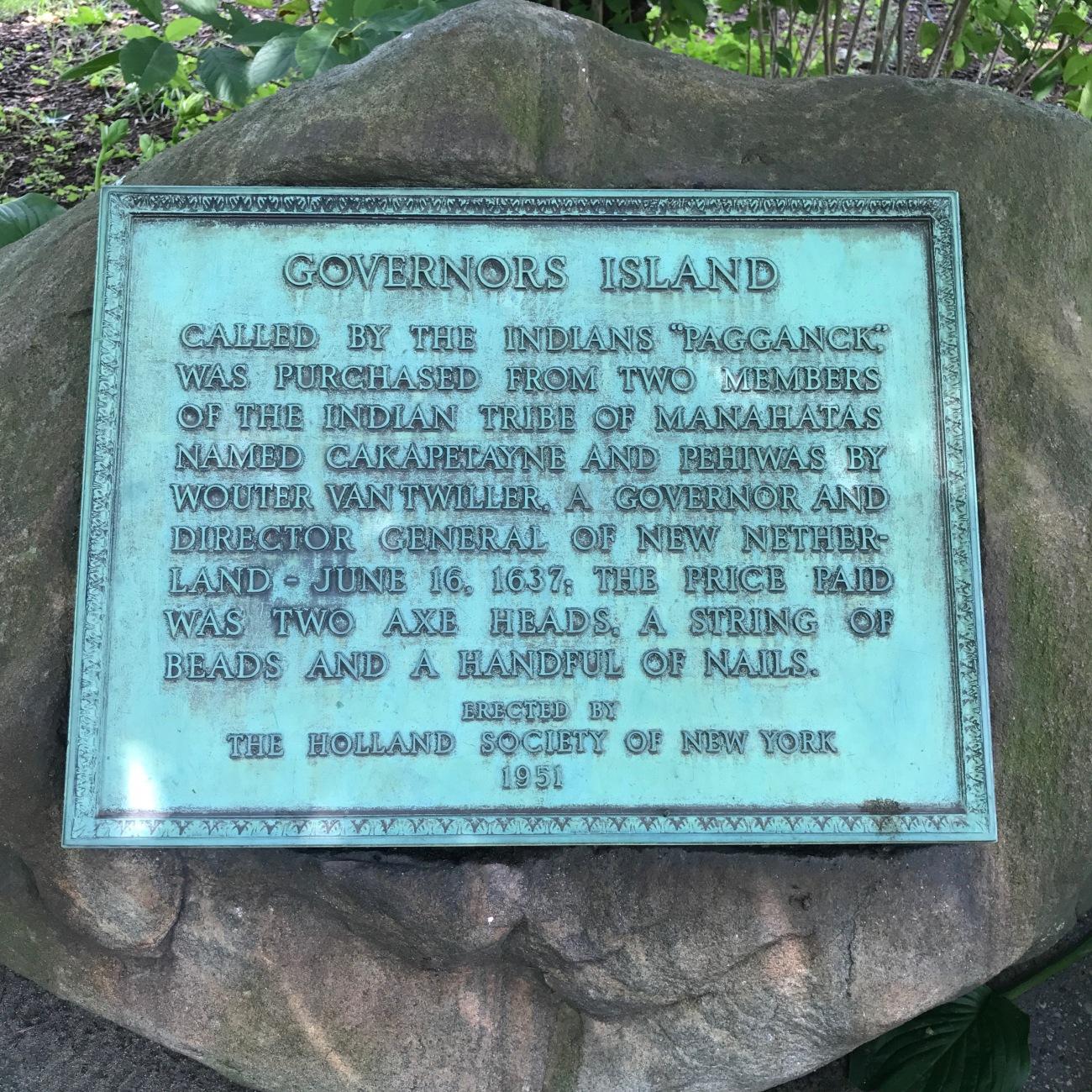 Governors Island Plaque (WildmooBooks.com)