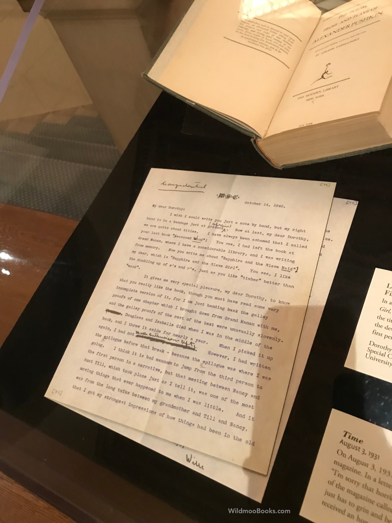 Willa Cather Exhibit at The New York Society Library - Cather Letter to Dorothy Canfield Fisher (WildmooBooks.com)