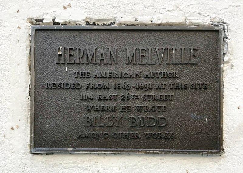 Herman Melville 104 East 26th Street Plaque (WildmooBooks.com)